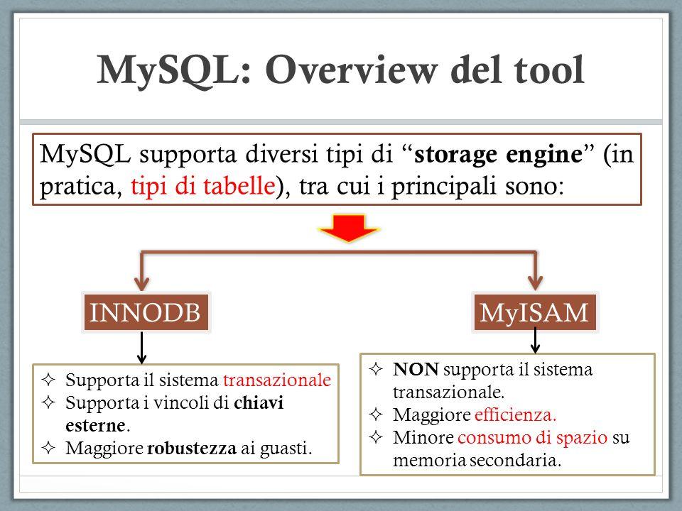 MySQL supporta diversi tipi di storage engine (in pratica, tipi di tabelle), tra cui i principali sono: MySQL: Overview del tool INNODBMyISAM Supporta il sistema transazionale Supporta i vincoli di chiavi esterne.