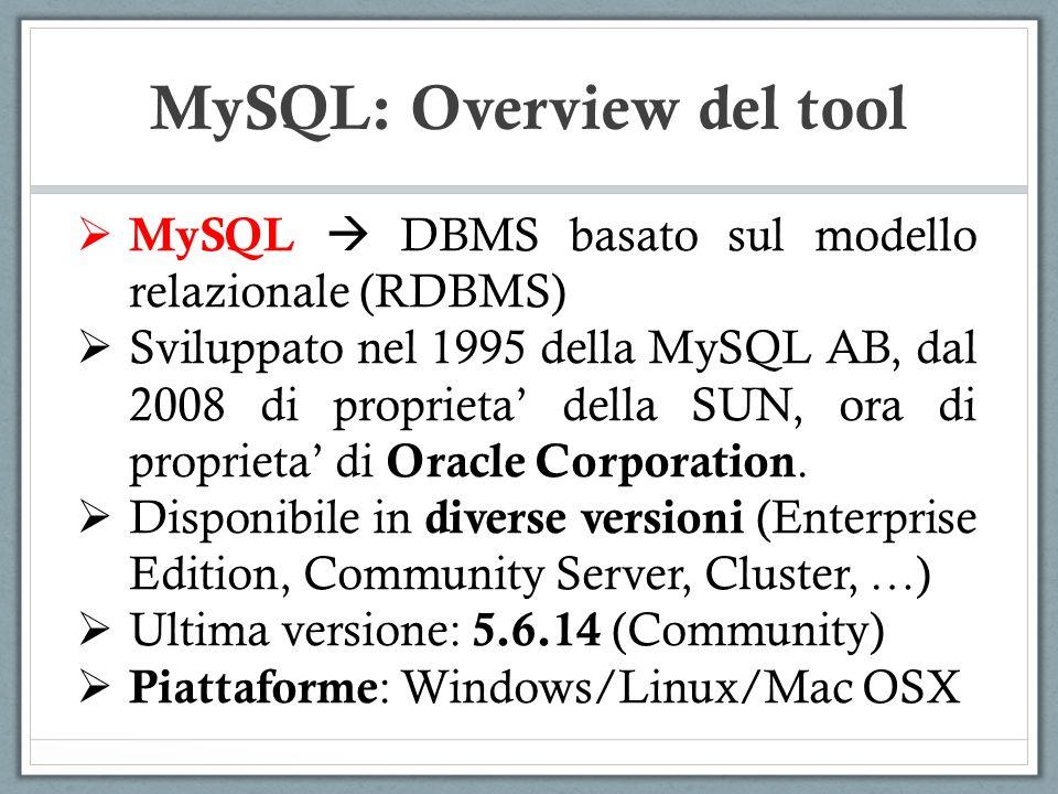 MySQL DBMS basato sul modello relazionale (RDBMS) Sviluppato nel 1995 della MySQL AB, dal 2008 di proprieta della SUN, ora di proprieta di Oracle Corporation.