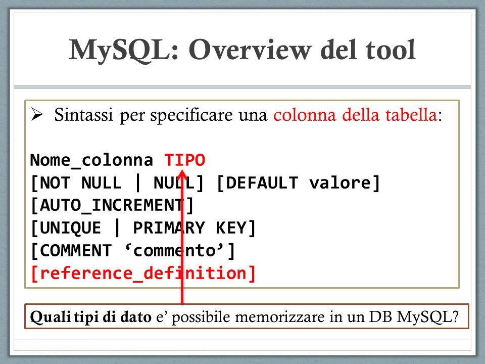 Sintassi per specificare una colonna della tabella: Nome_colonna TIPO [NOT NULL | NULL] [DEFAULT valore] [AUTO_INCREMENT] [UNIQUE | PRIMARY KEY] [COMMENT commento] [reference_definition] MySQL: Overview del tool Quali tipi di dato e possibile memorizzare in un DB MySQL?