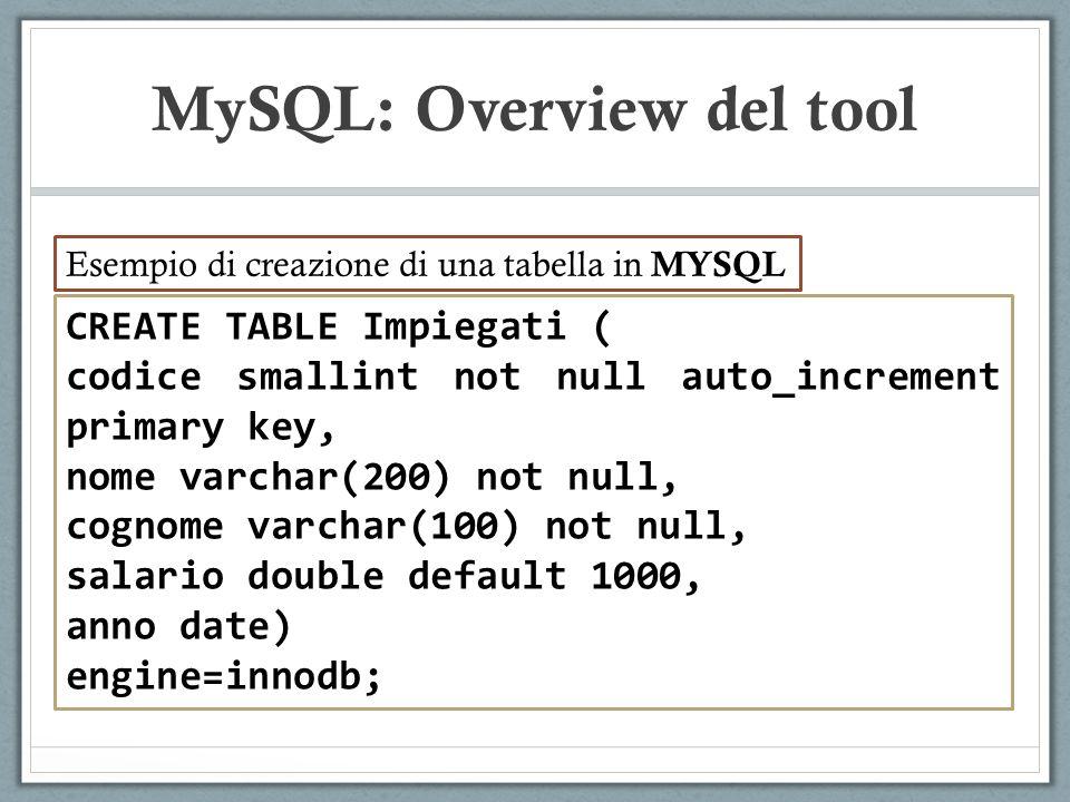 CREATE TABLE Impiegati ( codice smallint not null auto_increment primary key, nome varchar(200) not null, cognome varchar(100) not null, salario double default 1000, anno date) engine=innodb; MySQL: Overview del tool Esempio di creazione di una tabella in MYSQL