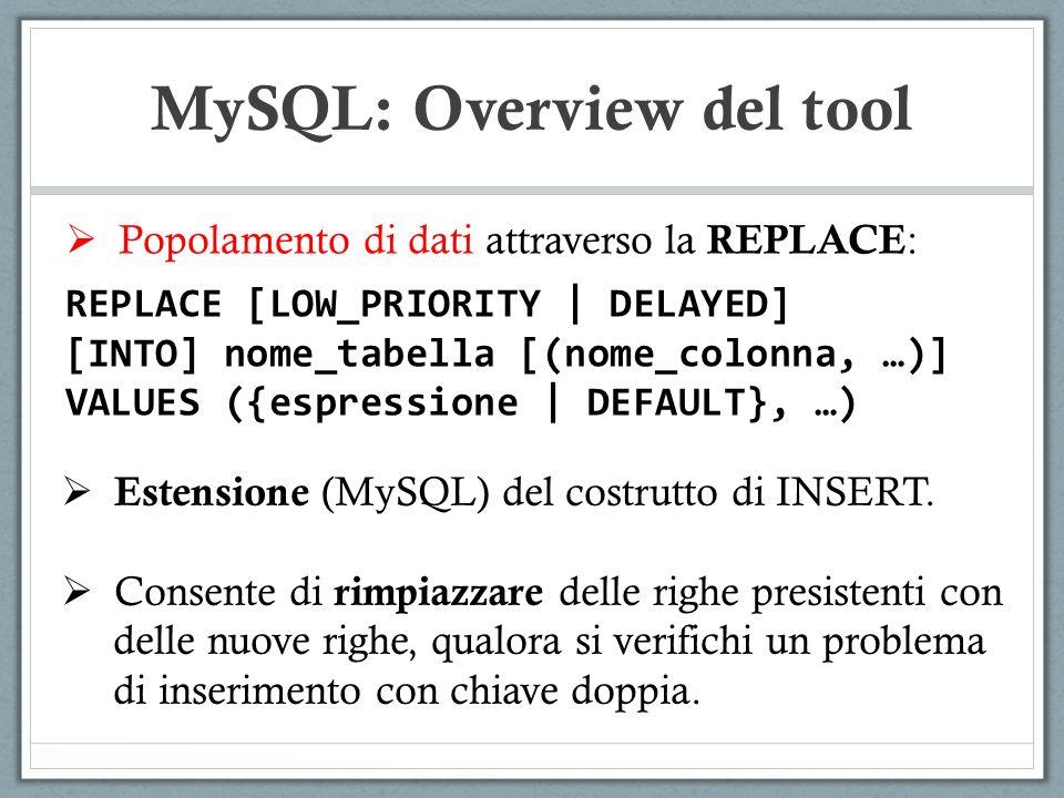 Popolamento di dati attraverso la REPLACE : REPLACE [LOW_PRIORITY | DELAYED] [INTO] nome_tabella [(nome_colonna, …)] VALUES ({espressione | DEFAULT}, …) MySQL: Overview del tool Estensione (MySQL) del costrutto di INSERT.