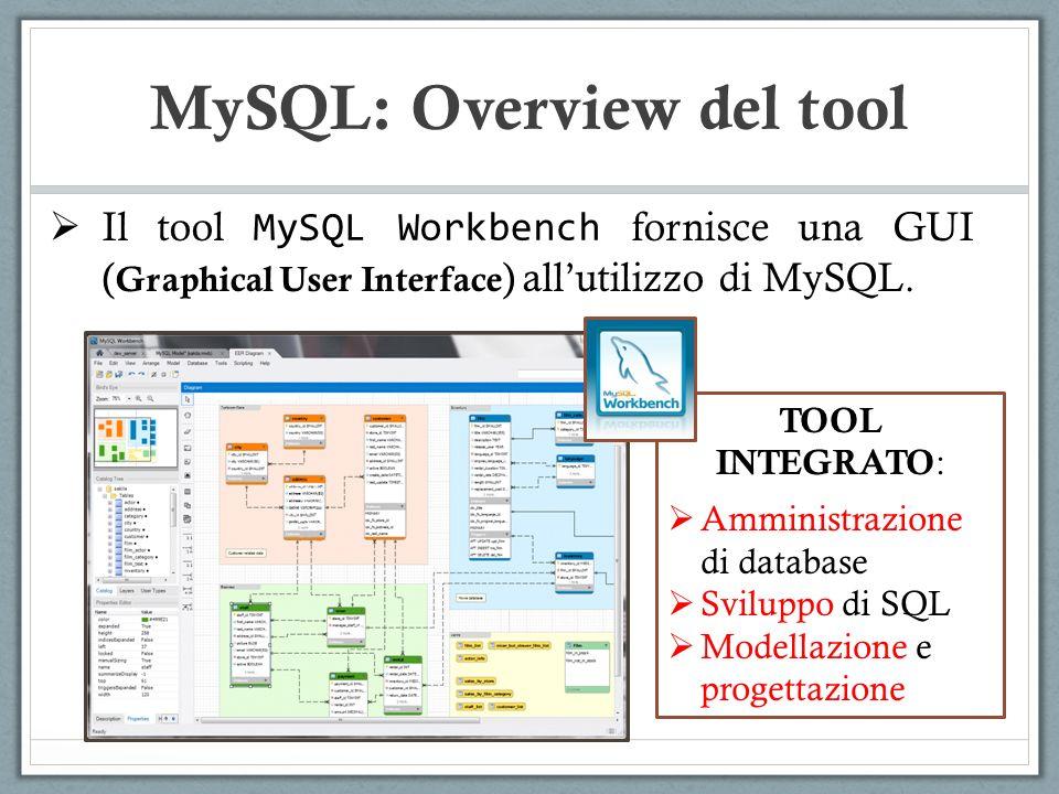 Il tool MySQL Workbench fornisce una GUI ( Graphical User Interface ) allutilizzo di MySQL. MySQL: Overview del tool TOOL INTEGRATO : Amministrazione