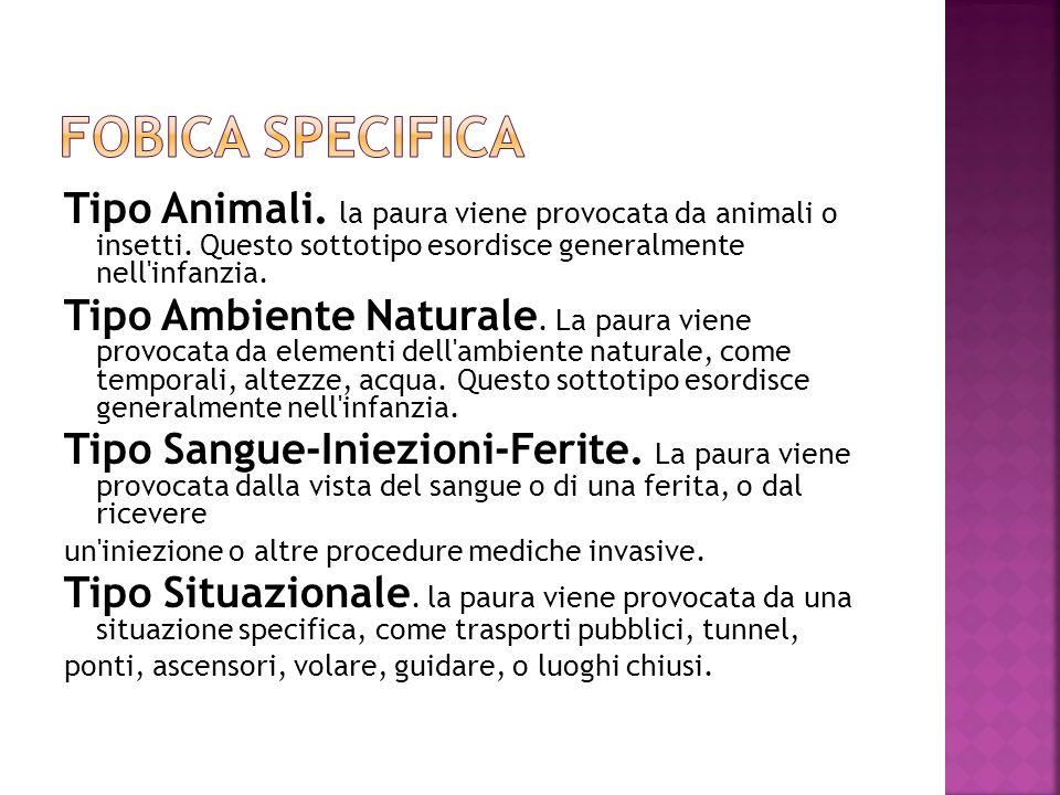 Tipo Animali. la paura viene provocata da animali o insetti. Questo sottotipo esordisce generalmente nell'infanzia. Tipo Ambiente Naturale. La paura v