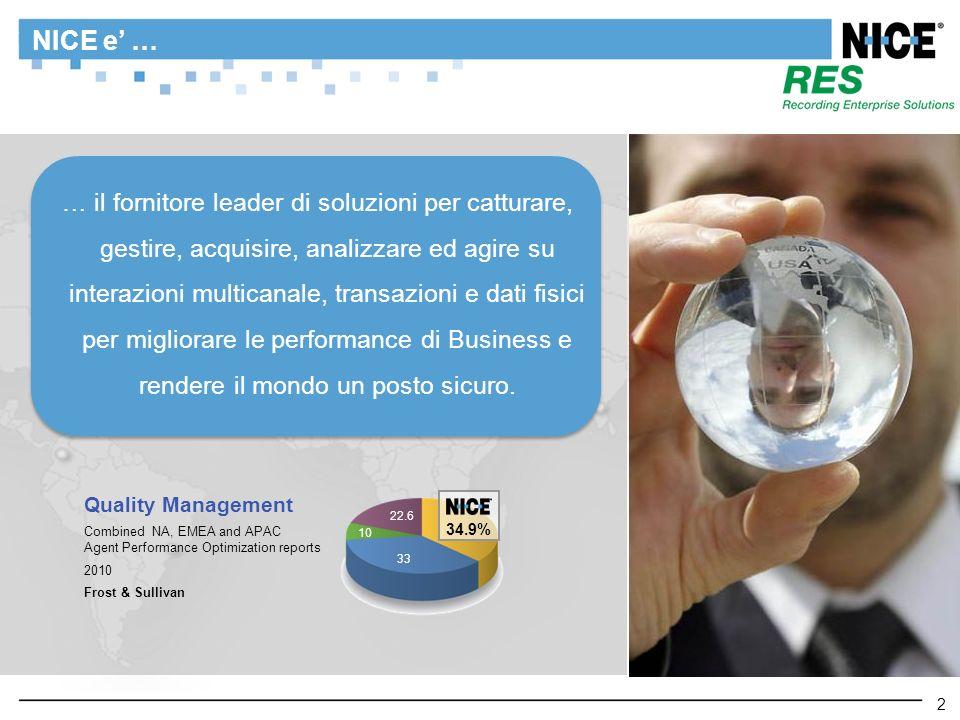 2 NICE e … 2 … il fornitore leader di soluzioni per catturare, gestire, acquisire, analizzare ed agire su interazioni multicanale, transazioni e dati