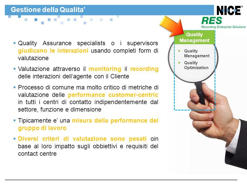 Gestione della Qualita Quality Assurance specialists o i supervisors giudicano le interazioni usando completi form di valutazione Valutazione attraver