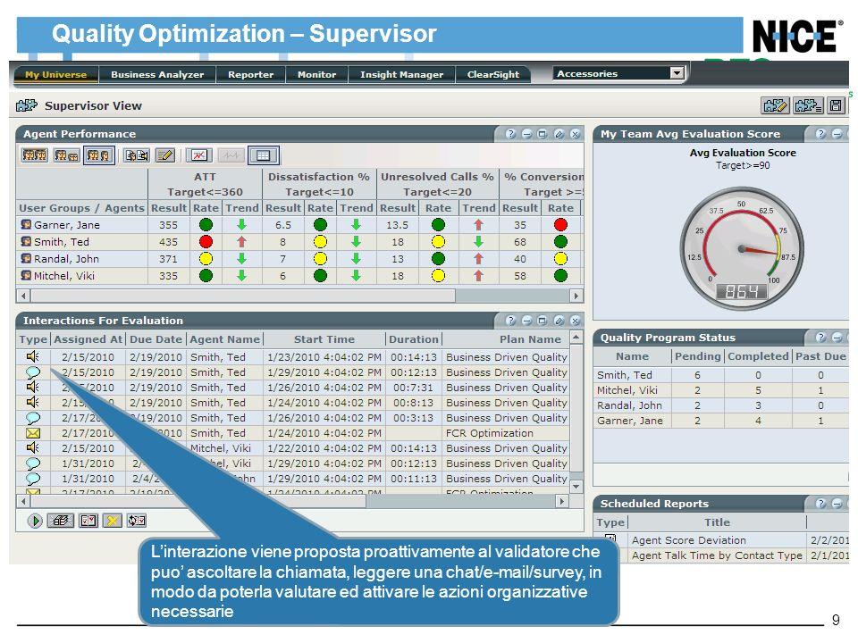 Quality Optimization – Supervisor 9 Linterazione viene proposta proattivamente al validatore che puo ascoltare la chiamata, leggere una chat/e-mail/su