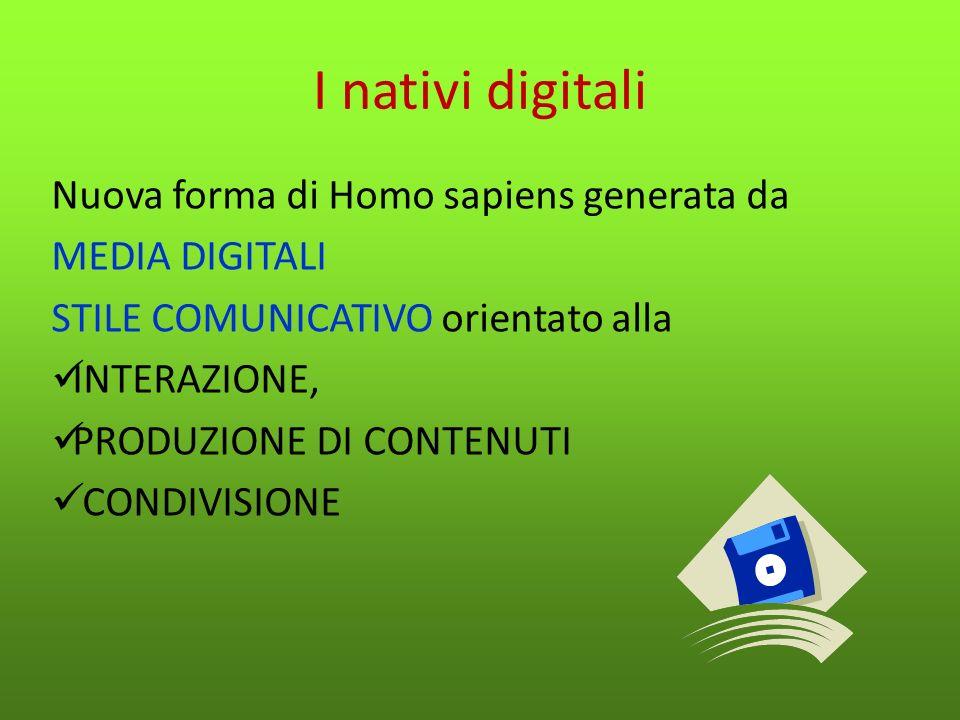 I nativi digitali Bambini tra gli 0 e il 12 anni esperienza diretta e precoce degli schermi interattivi digitali - consolle per i videogiochi, cellulari, computer, iPod - così come della navigazione in Internet