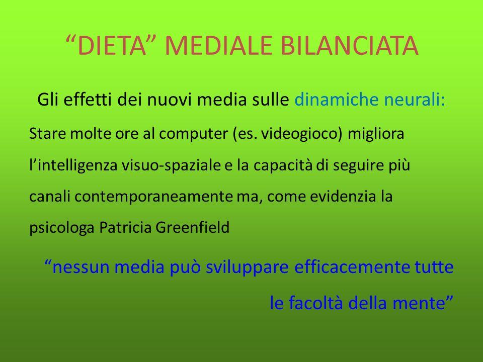 DIETA MEDIALE BILANCIATA Se vogliamo sviluppare una VARIETA DI COMPORTAMENTI COGNITIVI, abbiamo bisogno di una DIETA MEDIALE BILANCIATA (P.