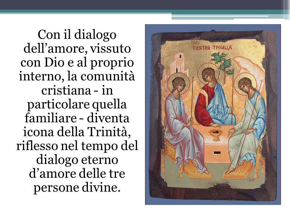 Con il dialogo dellamore, vissuto con Dio e al proprio interno, la comunità cristiana - in particolare quella familiare - diventa icona della Trinità,