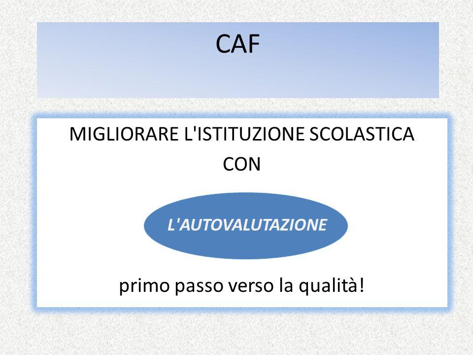 CAF MIGLIORARE L ISTITUZIONE SCOLASTICA CON primo passo verso la qualità! L AUTOVALUTAZIONE