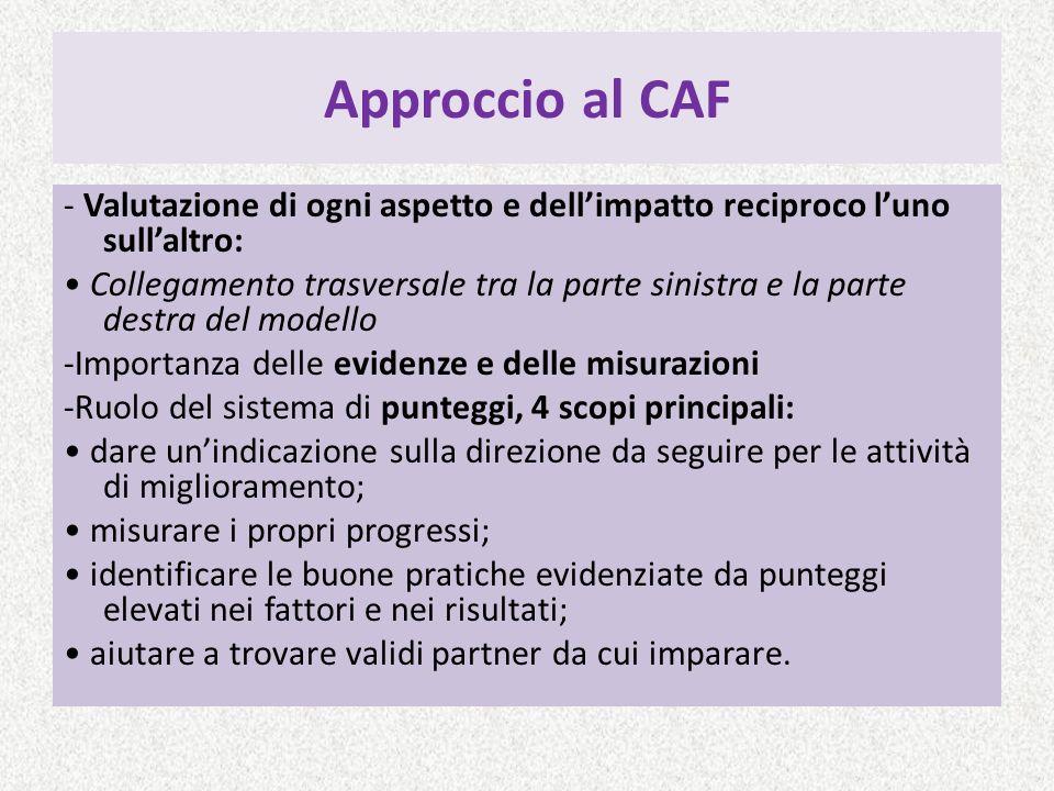 Approccio al CAF - Valutazione di ogni aspetto e dellimpatto reciproco luno sullaltro: Collegamento trasversale tra la parte sinistra e la parte destr