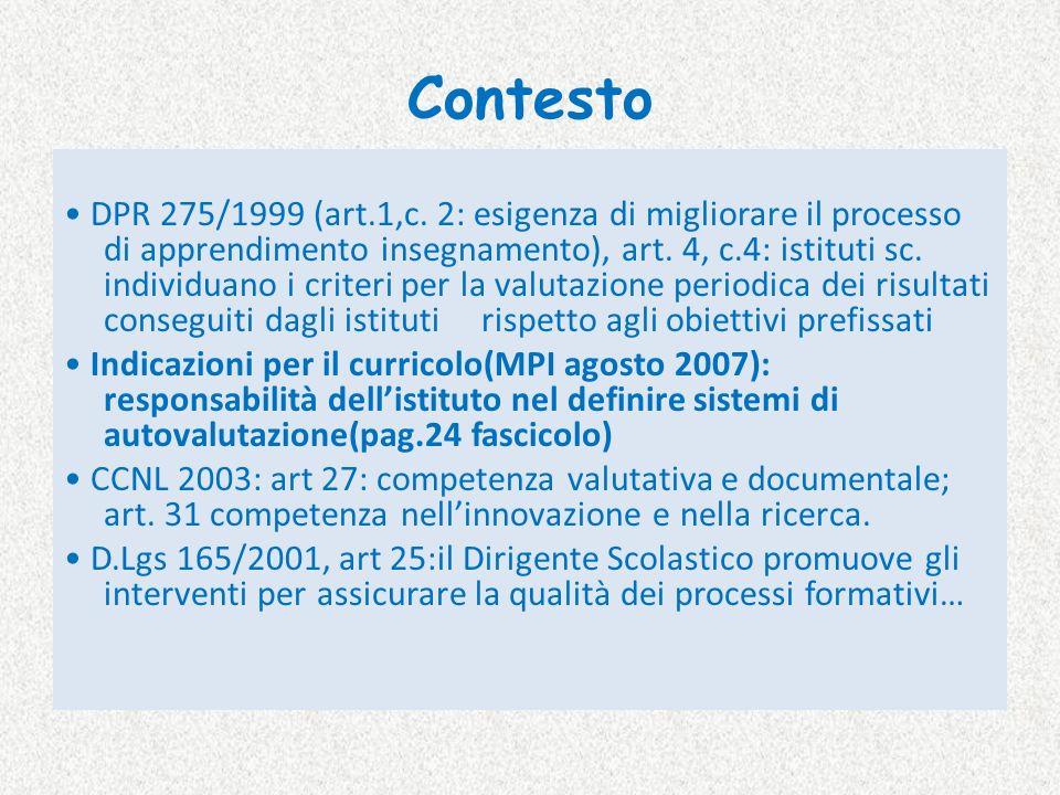 Contesto DPR 275/1999 (art.1,c. 2: esigenza di migliorare il processo di apprendimento insegnamento), art. 4, c.4: istituti sc. individuano i criteri