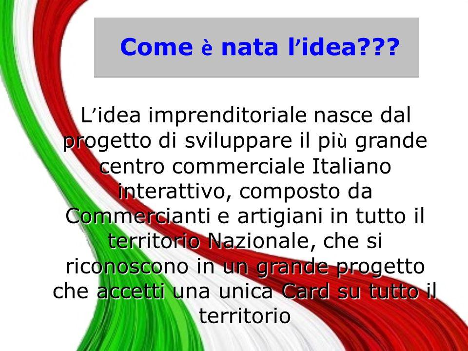 Il 1° Network Italiano Il 1° Centro Commerciale Italiano La 1° Carta da utilizzare