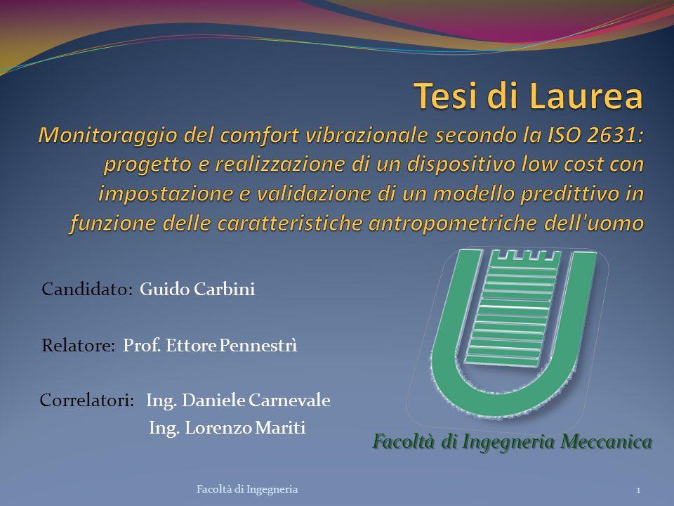 Candidato: Guido Carbini Relatore: Prof. Ettore Pennestrì Correlatori: Ing. Daniele Carnevale Ing. Lorenzo Mariti Facoltà di Ingegneria Meccanica 1Fac