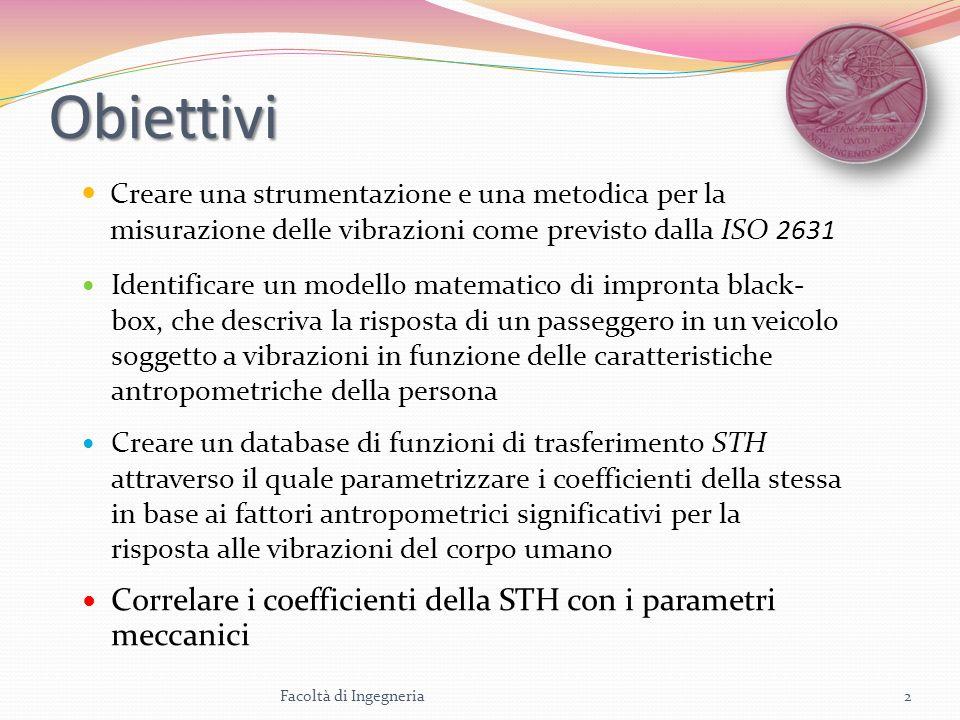 Obiettivi Creare una strumentazione e una metodica per la misurazione delle vibrazioni come previsto dalla ISO 2631 Identificare un modello matematico