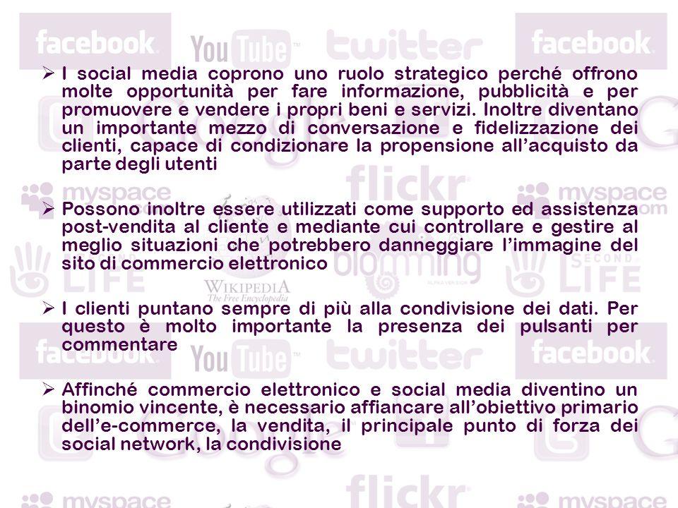 I social media coprono uno ruolo strategico perché offrono molte opportunità per fare informazione, pubblicità e per promuovere e vendere i propri beni e servizi.