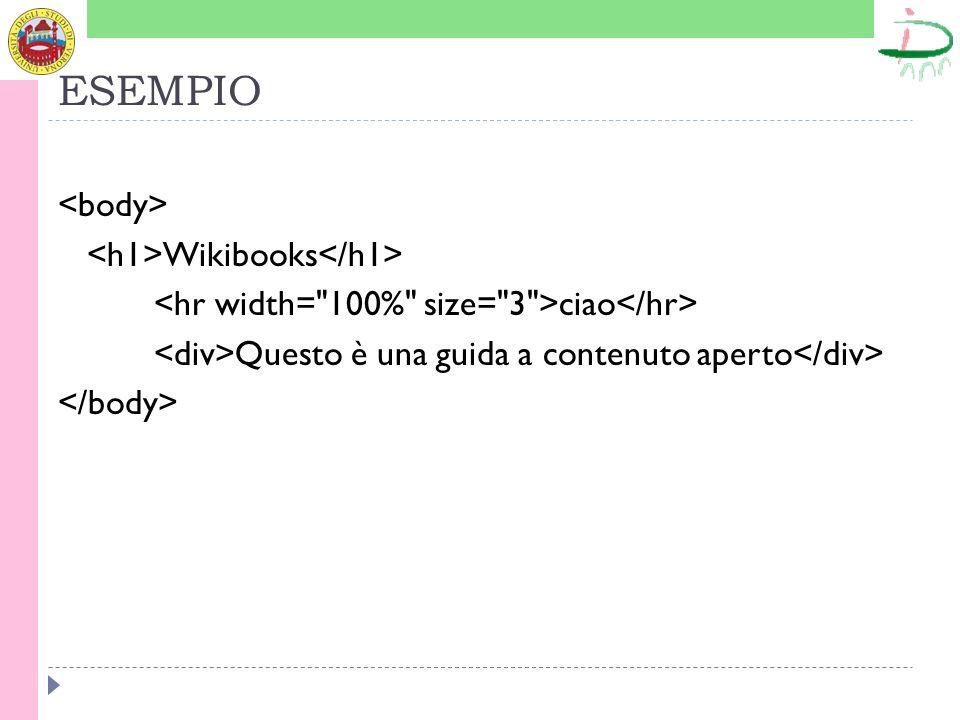 ESEMPIO Wikibooks ciao Questo è una guida a contenuto aperto