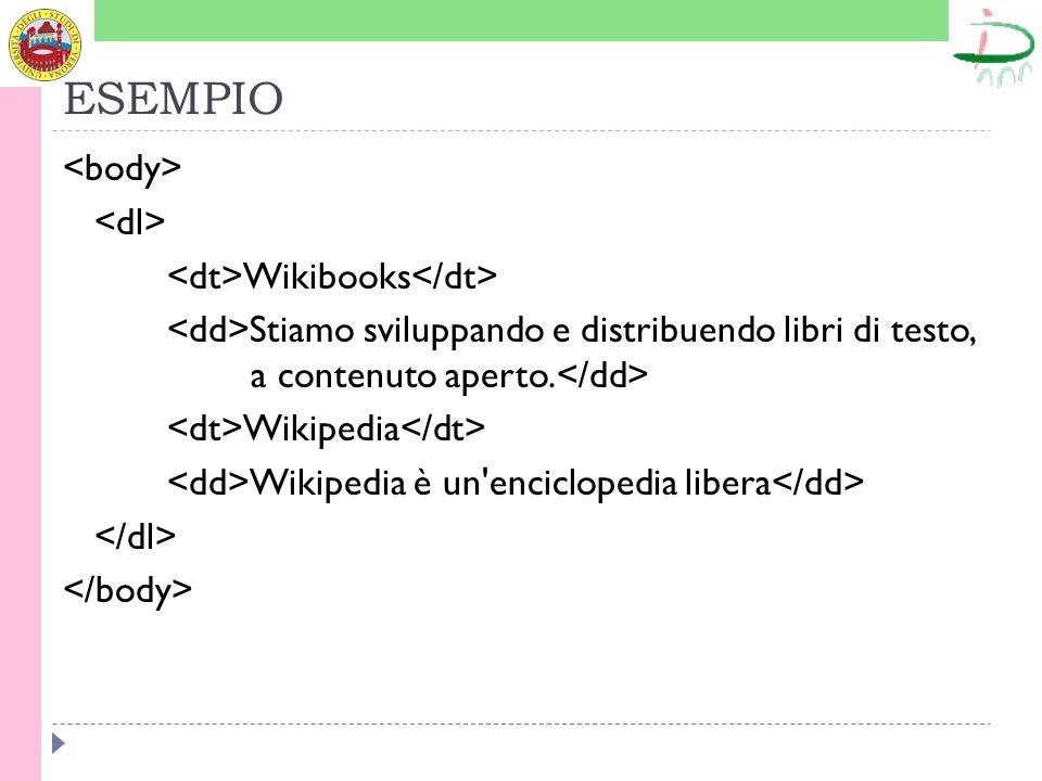 ESEMPIO Wikibooks Stiamo sviluppando e distribuendo libri di testo, a contenuto aperto.