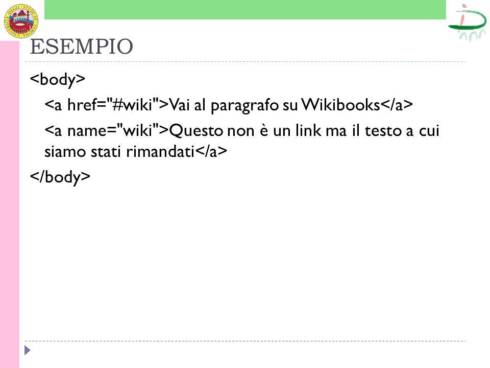 ESEMPIO Vai al paragrafo su Wikibooks Questo non è un link ma il testo a cui siamo stati rimandati