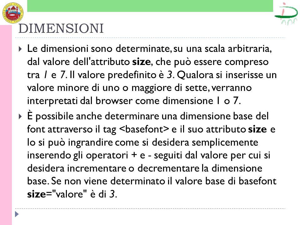 DIMENSIONI Le dimensioni sono determinate, su una scala arbitraria, dal valore dell attributo size, che può essere compreso tra 1 e 7.
