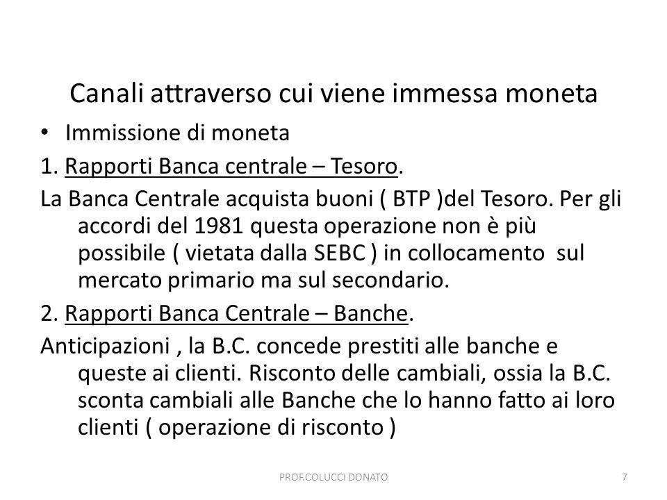 Canali attraverso cui viene immessa moneta Immissione di moneta 1. Rapporti Banca centrale – Tesoro. La Banca Centrale acquista buoni ( BTP )del Tesor