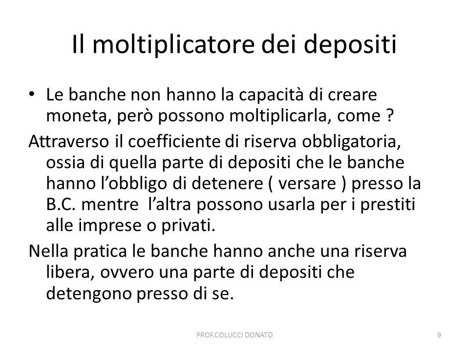 Il moltiplicatore dei depositi Le banche non hanno la capacità di creare moneta, però possono moltiplicarla, come ? Attraverso il coefficiente di rise
