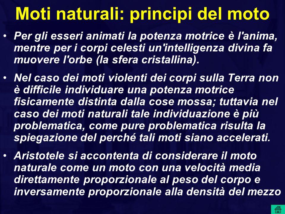 Moti naturali: principi del moto Per gli esseri animati la potenza motrice è l'anima, mentre per i corpi celesti un'intelligenza divina fa muovere l'o