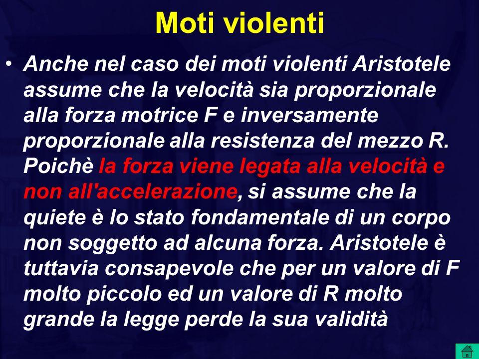 Moti violenti Anche nel caso dei moti violenti Aristotele assume che la velocità sia proporzionale alla forza motrice F e inversamente proporzionale a