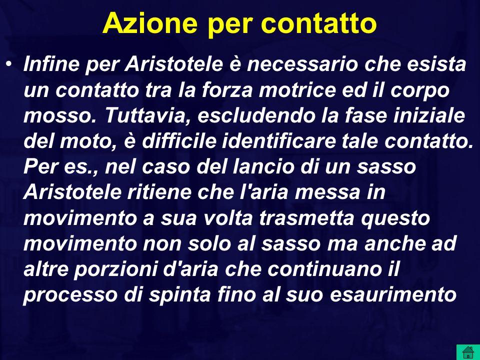 Azione per contatto Infine per Aristotele è necessario che esista un contatto tra la forza motrice ed il corpo mosso. Tuttavia, escludendo la fase ini