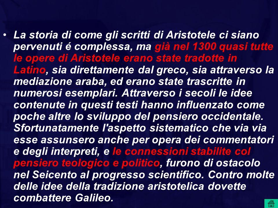 La storia di come gli scritti di Aristotele ci siano pervenuti é complessa, ma già nel 1300 quasi tutte le opere di Aristotele erano state tradotte in