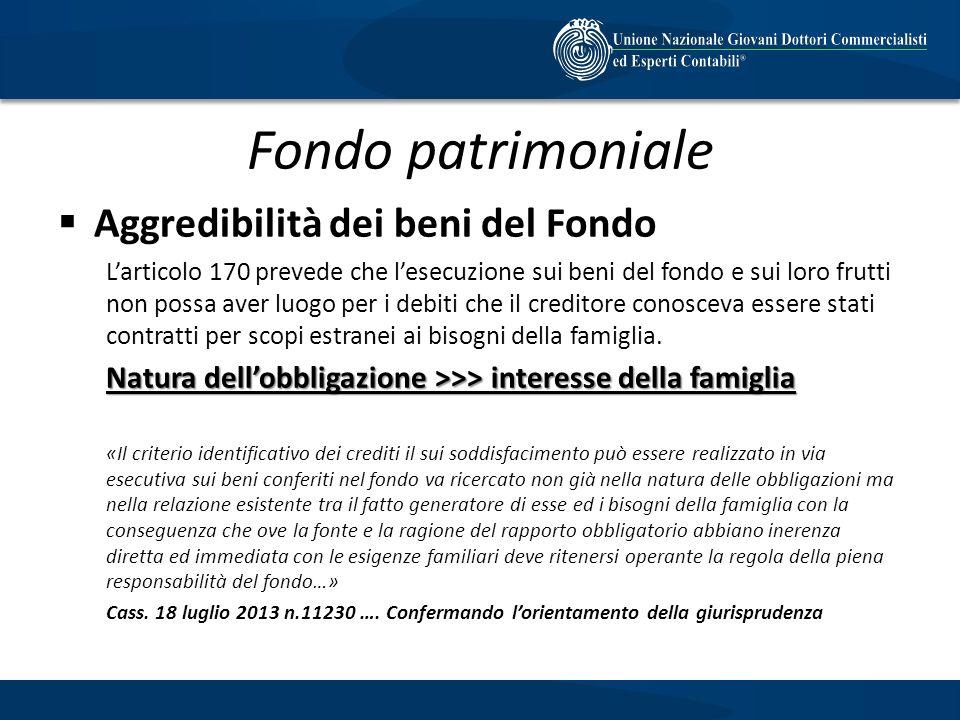 Fondo patrimoniale Aggredibilità dei beni del Fondo Larticolo 170 prevede che lesecuzione sui beni del fondo e sui loro frutti non possa aver luogo pe