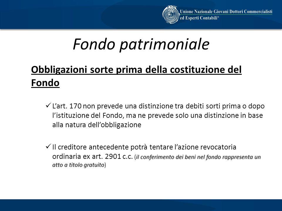 Fondo patrimoniale Obbligazioni sorte prima della costituzione del Fondo Lart. 170 non prevede una distinzione tra debiti sorti prima o dopo listituzi