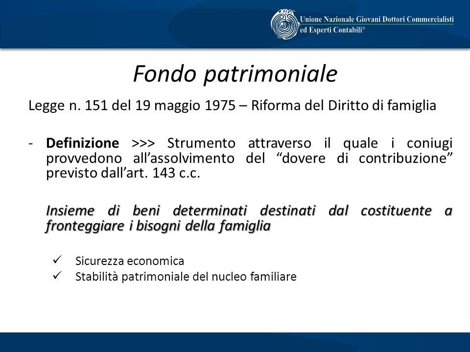 Fondo patrimoniale Legge n. 151 del 19 maggio 1975 – Riforma del Diritto di famiglia -Definizione >>> Strumento attraverso il quale i coniugi provvedo
