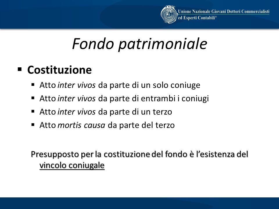 Fondo patrimoniale Costituzione Atto inter vivos da parte di un solo coniuge Atto inter vivos da parte di entrambi i coniugi Atto inter vivos da parte