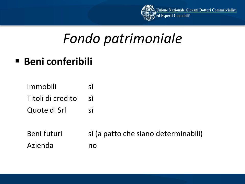 Fondo patrimoniale Beni conferibili Immobilisì Titoli di creditosì Quote di Srlsì Beni futurisì (a patto che siano determinabili) Aziendano