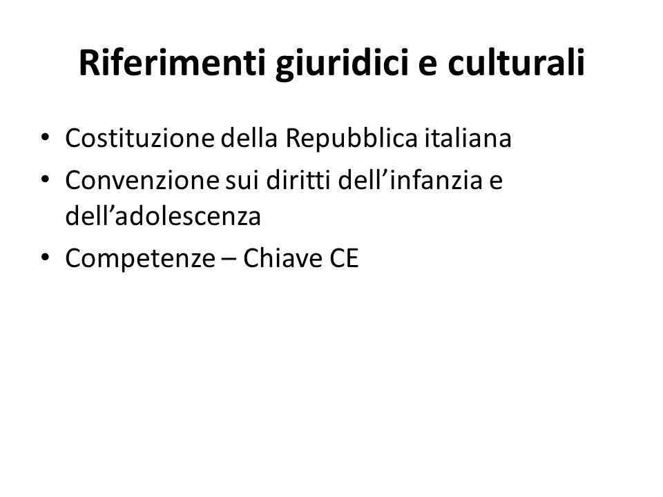 Riferimenti giuridici e culturali Costituzione della Repubblica italiana Convenzione sui diritti dellinfanzia e delladolescenza Competenze – Chiave CE