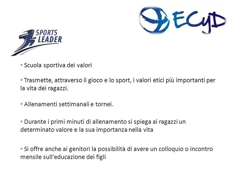 Scuola sportiva dei valori Trasmette, attraverso il gioco e lo sport, i valori etici più importanti per la vita dei ragazzi.