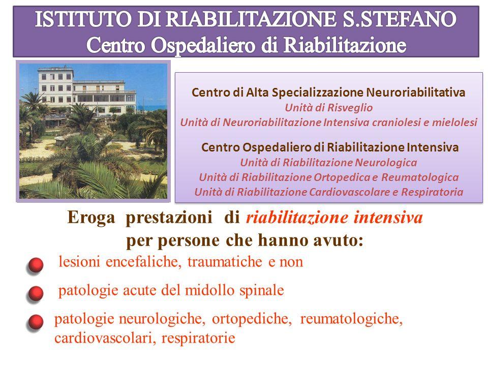 Centro di Alta Specializzazione Neuroriabilitativa Unità di Risveglio Unità di Neuroriabilitazione Intensiva craniolesi e mielolesi Centro Ospedaliero