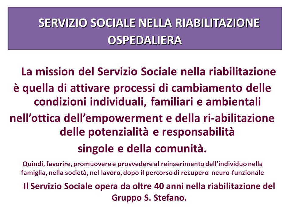 SERVIZIO SOCIALE NELLA RIABILITAZIONE OSPEDALIERA SERVIZIO SOCIALE NELLA RIABILITAZIONE OSPEDALIERA La mission del Servizio Sociale nella riabilitazio