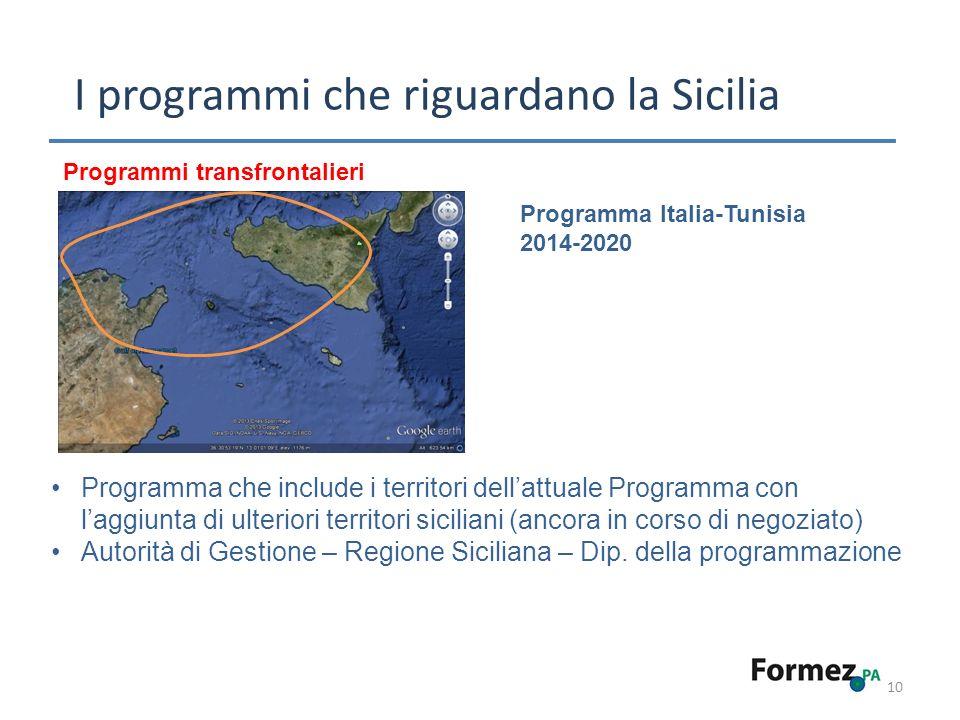 10 I programmi che riguardano la Sicilia Programmi transfrontalieri Programma Italia-Tunisia 2014-2020 Programma che include i territori dellattuale Programma con laggiunta di ulteriori territori siciliani (ancora in corso di negoziato) Autorità di Gestione – Regione Siciliana – Dip.
