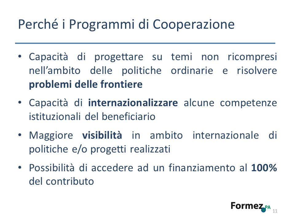 Perché i Programmi di Cooperazione 11 Capacità di progettare su temi non ricompresi nellambito delle politiche ordinarie e risolvere problemi delle fr