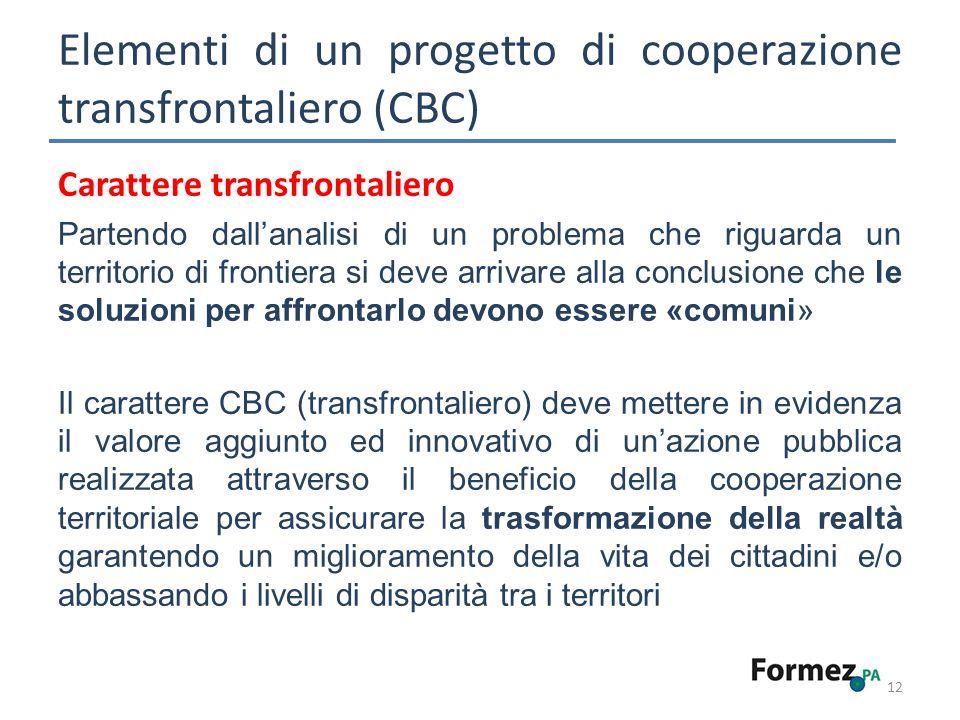Elementi di un progetto di cooperazione transfrontaliero (CBC) 12 Carattere transfrontaliero Partendo dallanalisi di un problema che riguarda un terri