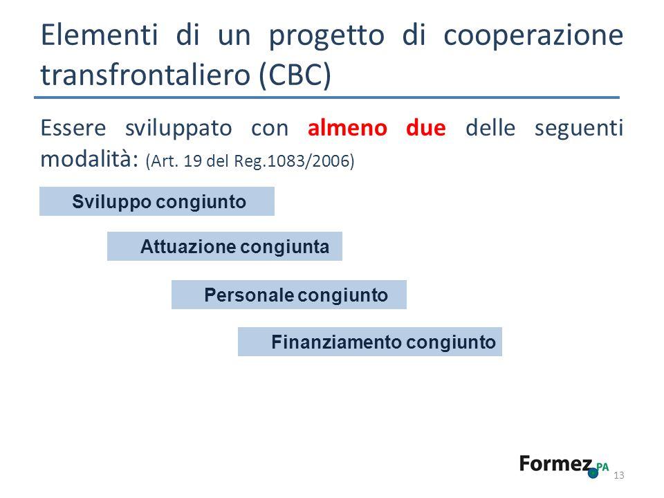 13 Essere sviluppato con almeno due delle seguenti modalità: (Art. 19 del Reg.1083/2006) Elementi di un progetto di cooperazione transfrontaliero (CBC