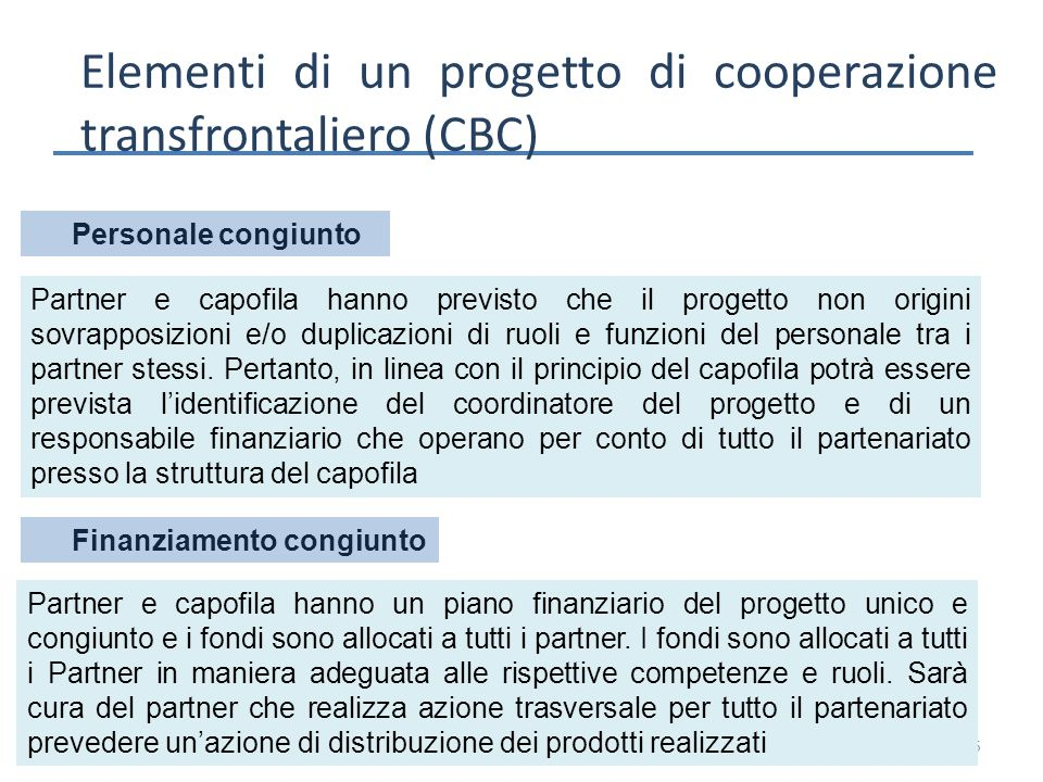 15 Elementi di un progetto di cooperazione transfrontaliero (CBC) Personale congiunto Partner e capofila hanno un piano finanziario del progetto unico e congiunto e i fondi sono allocati a tutti i partner.