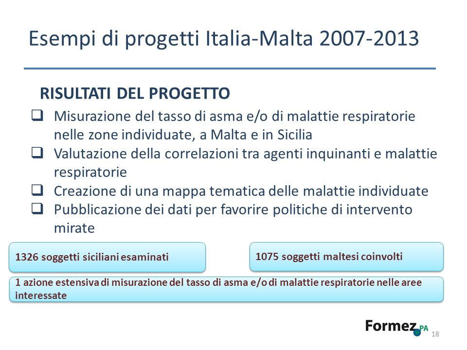 18 Esempi di progetti Italia-Malta 2007-2013 RISULTATI DEL PROGETTO Misurazione del tasso di asma e/o di malattie respiratorie nelle zone individuate,