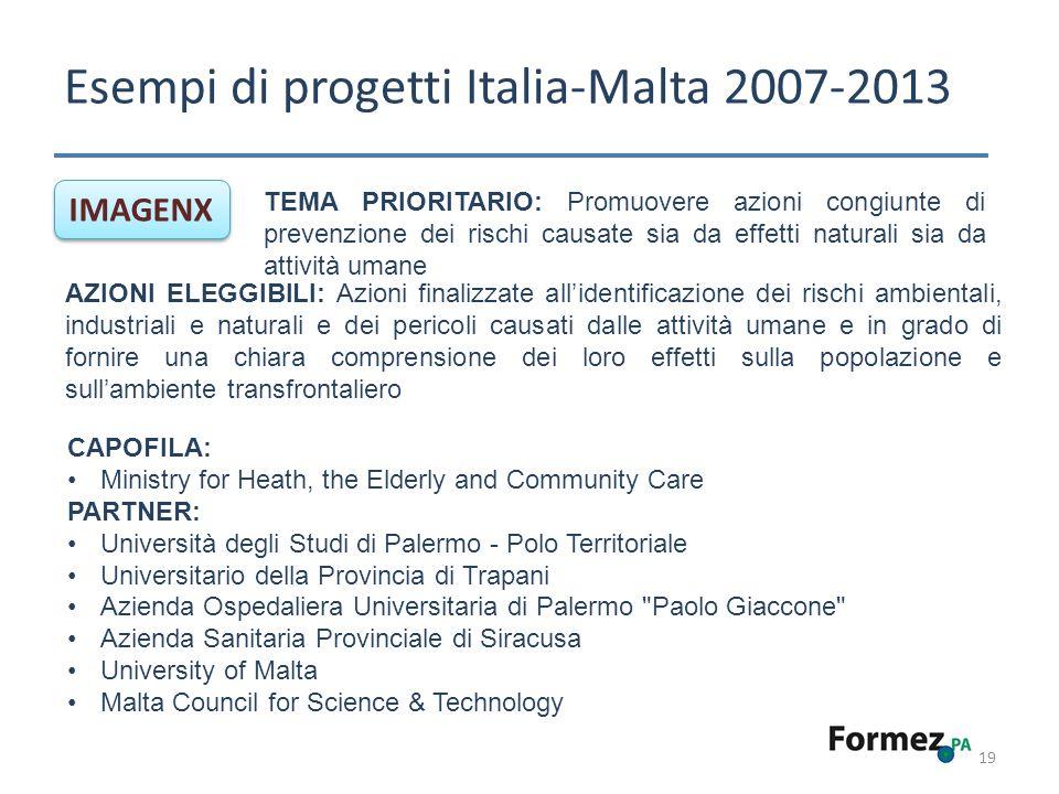 Esempi di progetti Italia-Malta 2007-2013 19 IMAGENX TEMA PRIORITARIO: Promuovere azioni congiunte di prevenzione dei rischi causate sia da effetti na