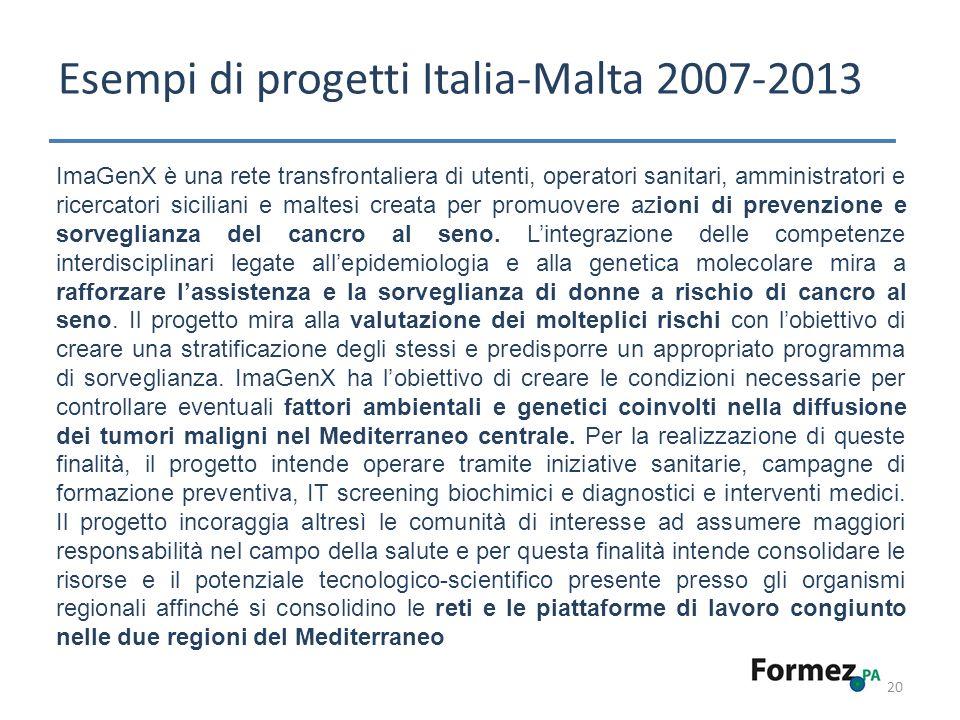 Esempi di progetti Italia-Malta 2007-2013 20 ImaGenX è una rete transfrontaliera di utenti, operatori sanitari, amministratori e ricercatori siciliani e maltesi creata per promuovere azioni di prevenzione e sorveglianza del cancro al seno.