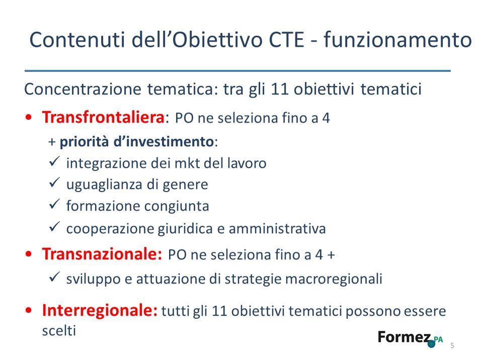 Contenuti dellObiettivo CTE - funzionamento 5 Concentrazione tematica: tra gli 11 obiettivi tematici Transfrontaliera: PO ne seleziona fino a 4 + priorità dinvestimento: integrazione dei mkt del lavoro uguaglianza di genere formazione congiunta cooperazione giuridica e amministrativa Transnazionale: PO ne seleziona fino a 4 + sviluppo e attuazione di strategie macroregionali Interregionale: tutti gli 11 obiettivi tematici possono essere scelti
