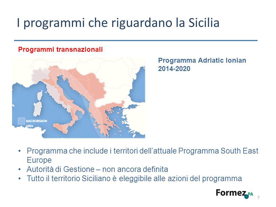 I programmi che riguardano la Sicilia 7 Programma Adriatic Ionian 2014-2020 Programmi transnazionali Programma che include i territori dellattuale Programma South East Europe Autorità di Gestione – non ancora definita Tutto il territorio Siciliano è eleggibile alle azioni del programma