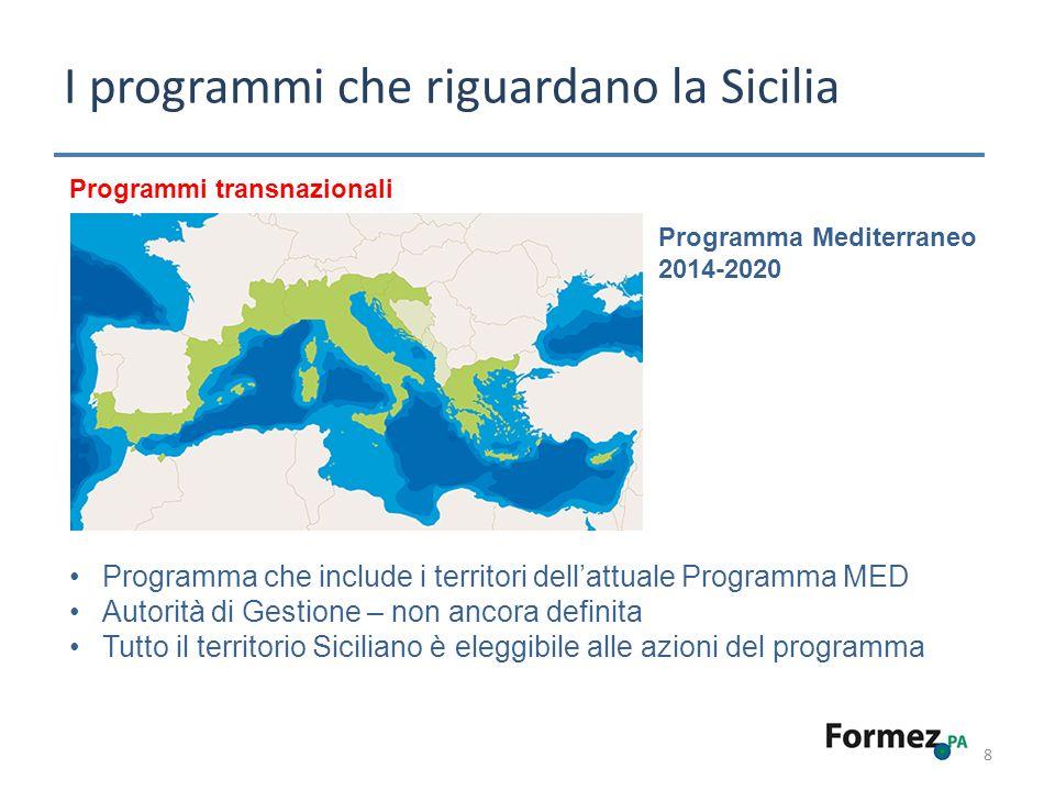 I programmi che riguardano la Sicilia 8 Programmi transnazionali Programma Mediterraneo 2014-2020 Programma che include i territori dellattuale Programma MED Autorità di Gestione – non ancora definita Tutto il territorio Siciliano è eleggibile alle azioni del programma